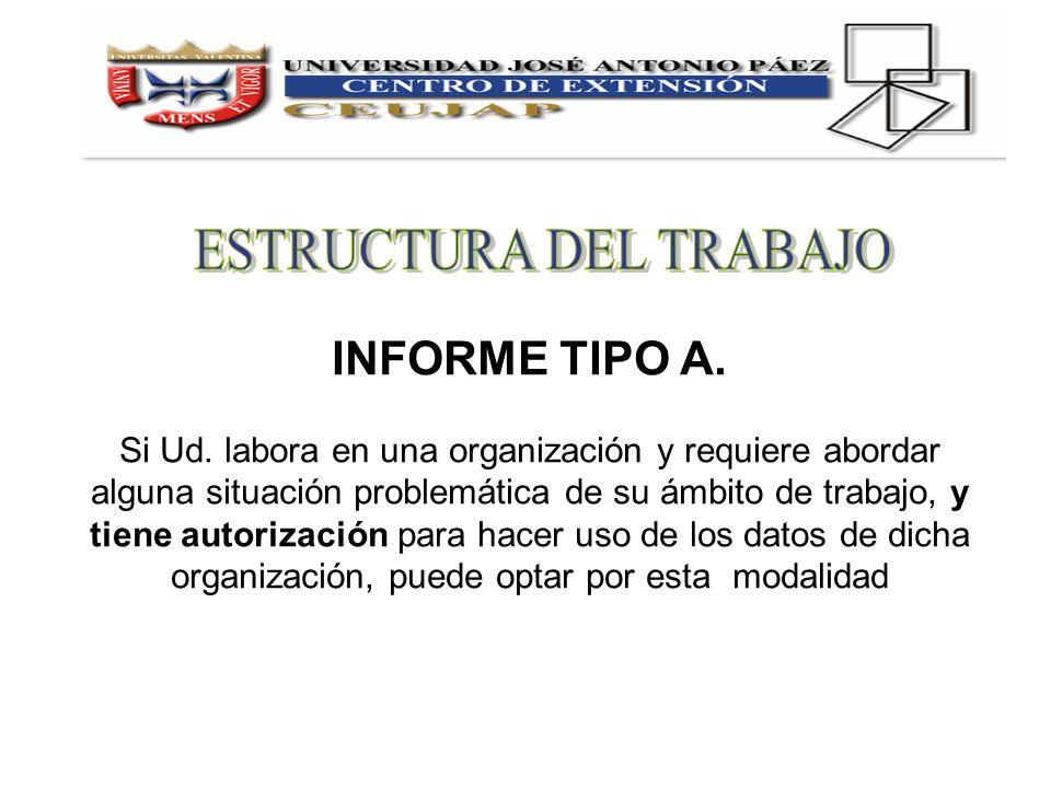 INFORME TIPO A. Si Ud. labora en una organización y requiere abordar alguna situación problemática de su ámbito de trabajo, y tiene autorización para