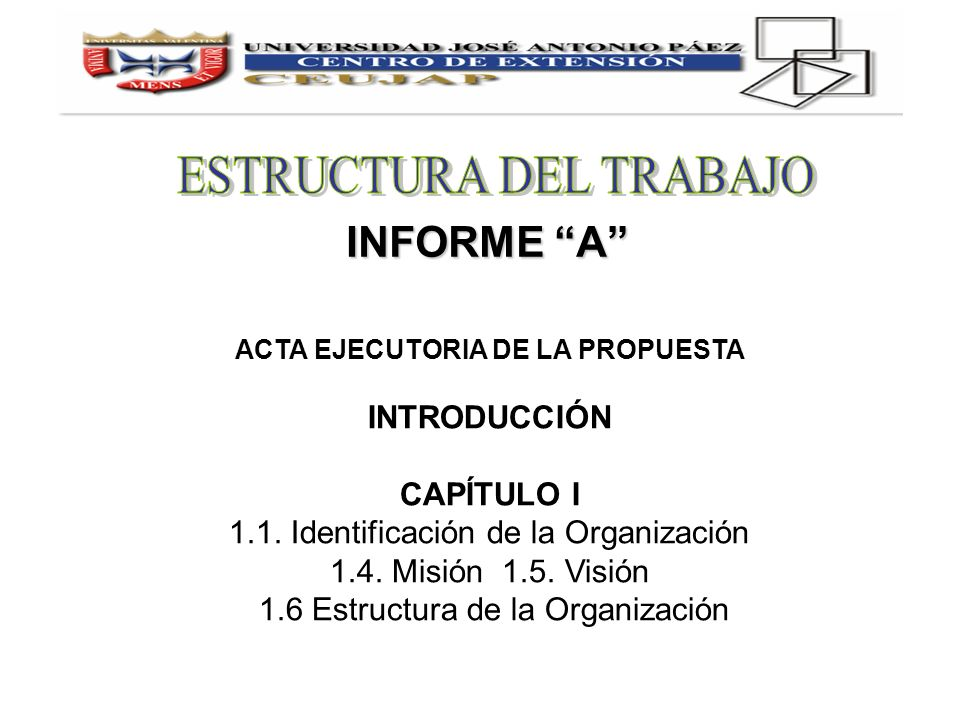 INFORME A ACTA EJECUTORIA DE LA PROPUESTA INTRODUCCIÓN CAPÍTULO I 1.1. Identificación de la Organización 1.4. Misión 1.5. Visión 1.6 Estructura de la