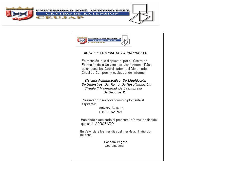 ACTA EJECUTORIA DE LA PROPUESTA En atención a lo dispuesto por el Centro de Extensión de la Universidad José Antonio Páez, quien suscribe, Coordinador