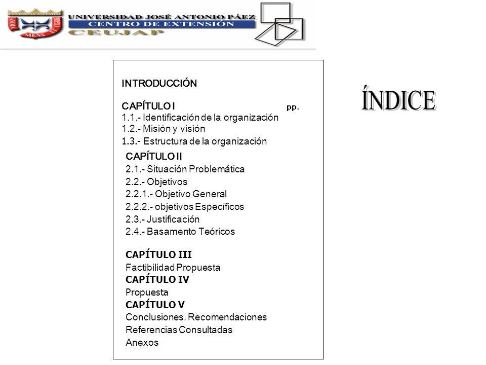 INTRODUCCIÓN CAPÍTULO I pp. 1.1.- Identificación de la organización 1.2.- Misión y visión 1.3.- Estructura de la organización CAPÍTULO II 2.1.- Situac