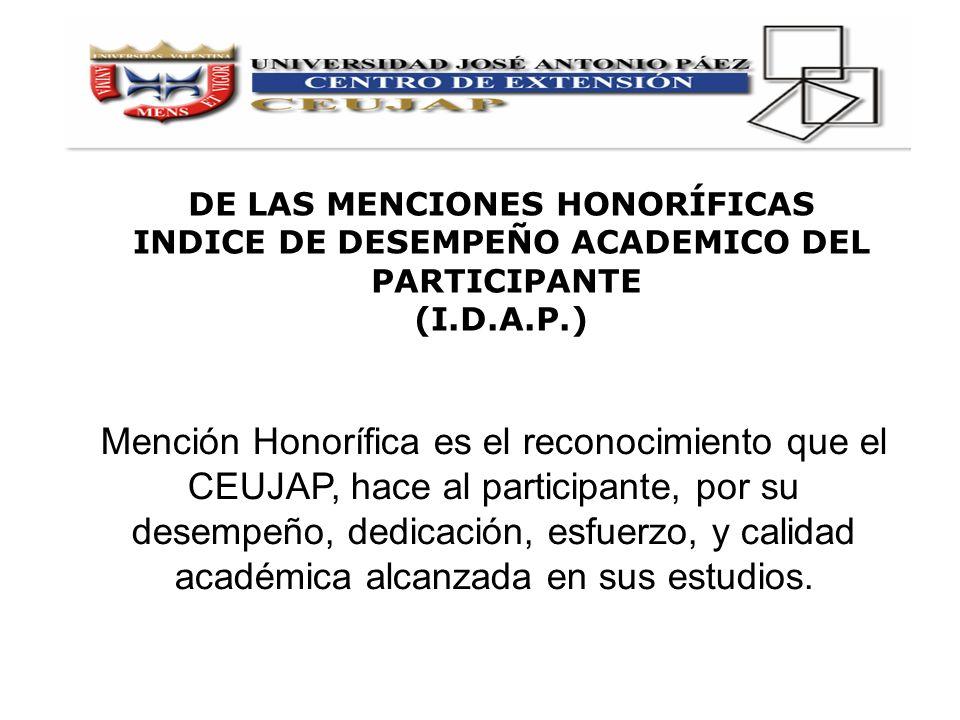 Mención Honorífica es el reconocimiento que el CEUJAP, hace al participante, por su desempeño, dedicación, esfuerzo, y calidad académica alcanzada en
