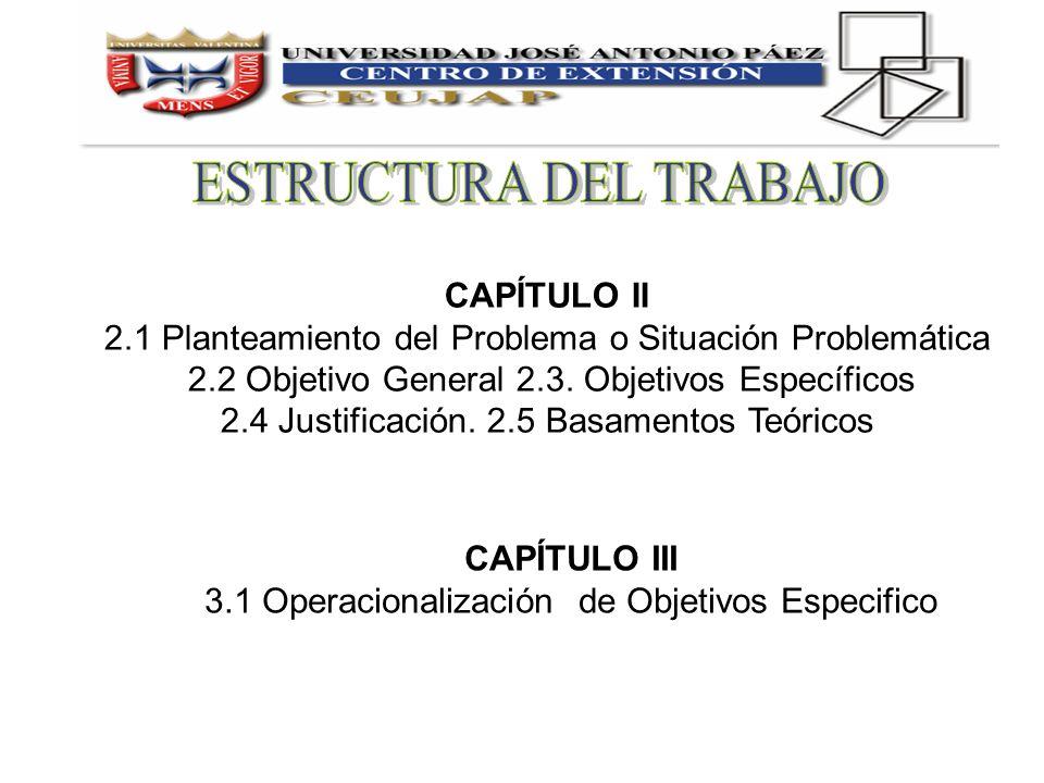 CAPÍTULO II 2.1 Planteamiento del Problema o Situación Problemática 2.2 Objetivo General 2.3. Objetivos Específicos 2.4 Justificación. 2.5 Basamentos