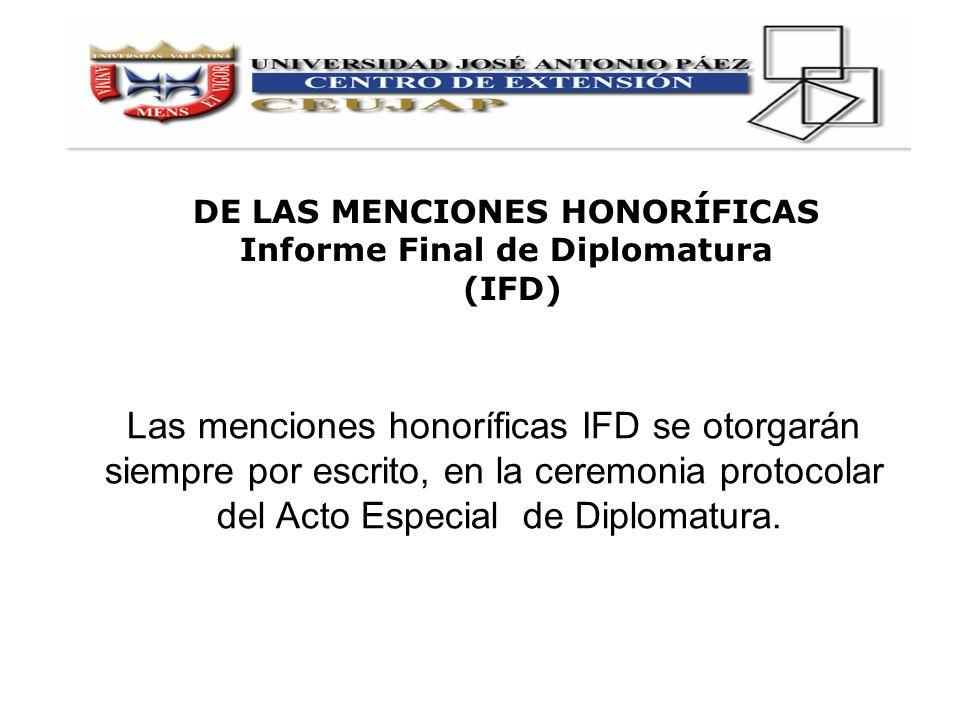 Las menciones honoríficas IFD se otorgarán siempre por escrito, en la ceremonia protocolar del Acto Especial de Diplomatura. DE LAS MENCIONES HONORÍFI