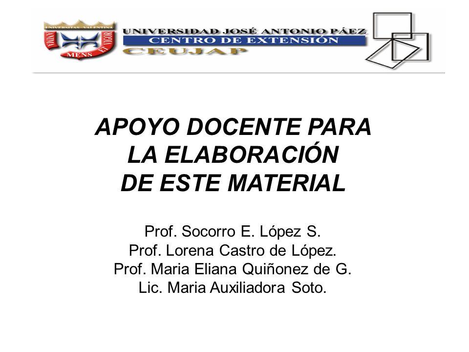 APOYO DOCENTE PARA LA ELABORACIÓN DE ESTE MATERIAL Prof. Socorro E. López S. Prof. Lorena Castro de López. Prof. Maria Eliana Quiñonez de G. Lic. Mari