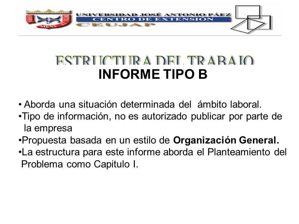 INFORME TIPO B Aborda una situación determinada del ámbito laboral. Tipo de información, no es autorizado publicar por parte de la empresa Propuesta b