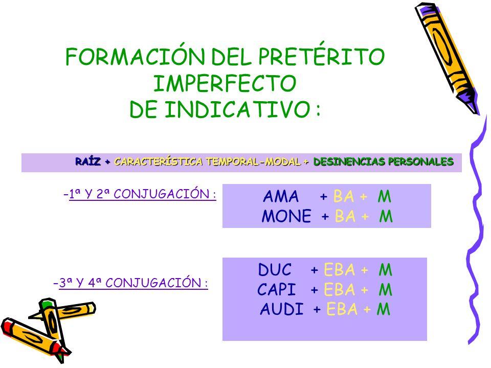 1ª conjugación2ª conjugación AMA-BA-M AMA-BA-S AMA-BA-T AMA-BA-MUS AMA-BA-TIS AMA-BA-NT AMABA MONE-BA-M MONE-BA-S MONE-BA-T MONE-BA-MUS MONE-BA-TIS MONE-BA-NT ACONSEJABA PRETÉRITO IMPERFECTO DE INDICATIVO