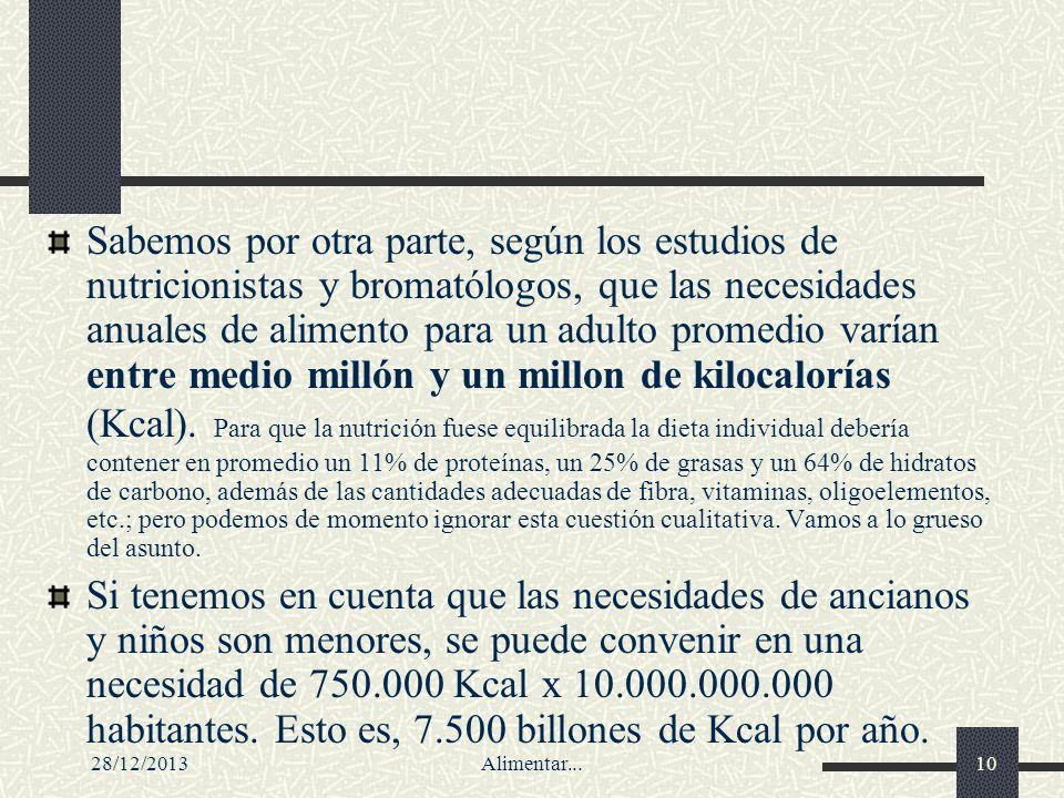 28/12/2013Alimentar...10 Sabemos por otra parte, según los estudios de nutricionistas y bromatólogos, que las necesidades anuales de alimento para un