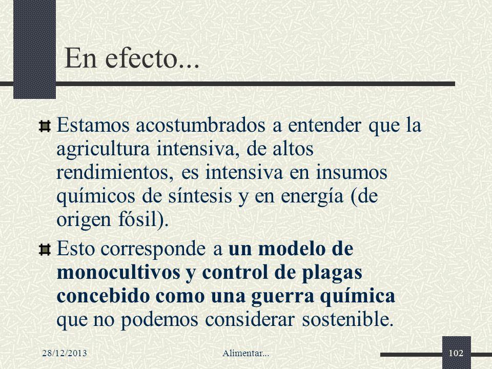 28/12/2013Alimentar...102 En efecto... Estamos acostumbrados a entender que la agricultura intensiva, de altos rendimientos, es intensiva en insumos q