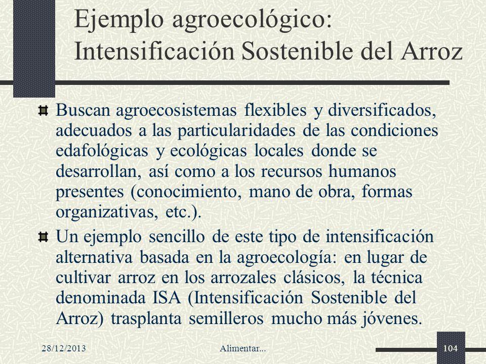 28/12/2013Alimentar...104 Ejemplo agroecológico: Intensificación Sostenible del Arroz Buscan agroecosistemas flexibles y diversificados, adecuados a l
