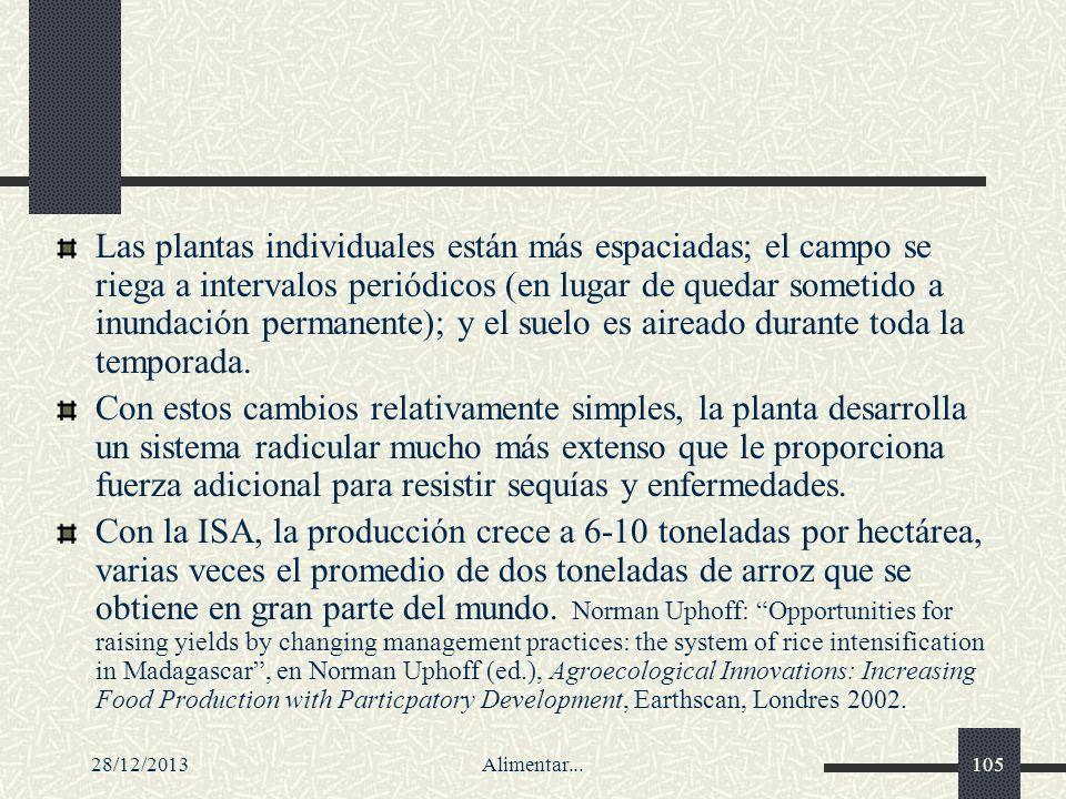 28/12/2013Alimentar...105 Las plantas individuales están más espaciadas; el campo se riega a intervalos periódicos (en lugar de quedar sometido a inun