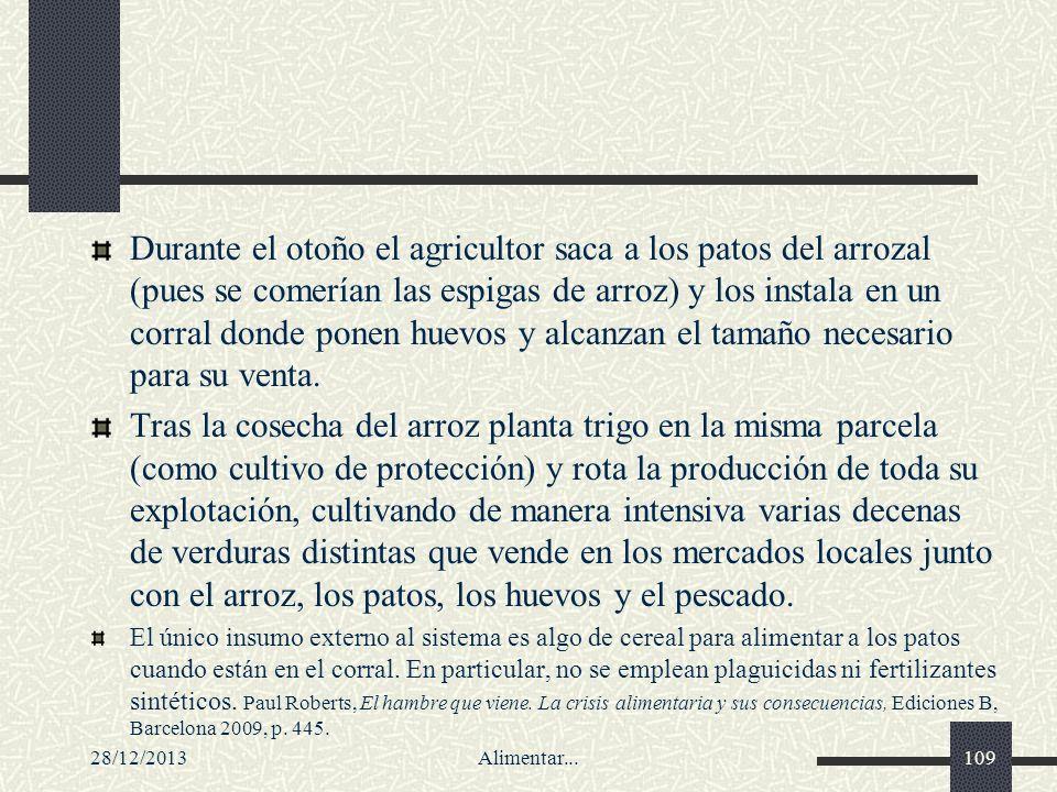 28/12/2013Alimentar...109 Durante el otoño el agricultor saca a los patos del arrozal (pues se comerían las espigas de arroz) y los instala en un corr