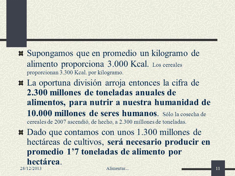 28/12/2013Alimentar...11 Supongamos que en promedio un kilogramo de alimento proporciona 3.000 Kcal. Los cereales proporcionan 3.300 Kcal. por kilogra