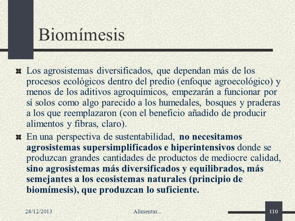 28/12/2013Alimentar...110 Biomímesis Los agrosistemas diversificados, que dependan más de los procesos ecológicos dentro del predio (enfoque agroecoló