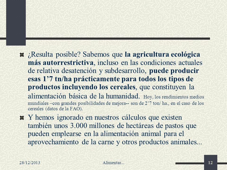 28/12/2013Alimentar...12 ¿Resulta posible? Sabemos que la agricultura ecológica más autorrestrictiva, incluso en las condiciones actuales de relativa