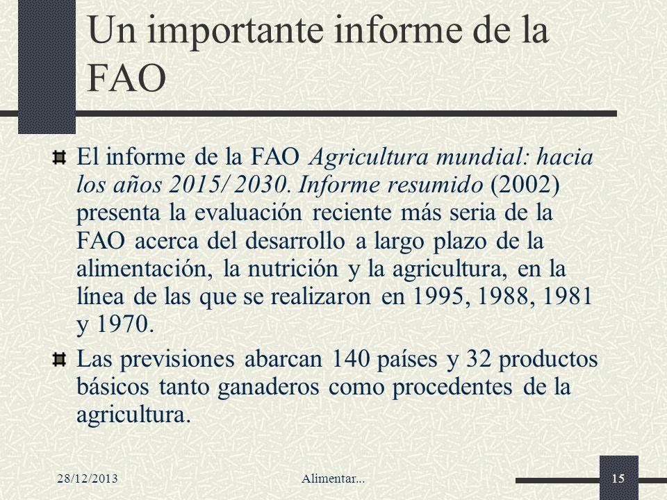 28/12/2013Alimentar...15 Un importante informe de la FAO El informe de la FAO Agricultura mundial: hacia los años 2015/ 2030. Informe resumido (2002)