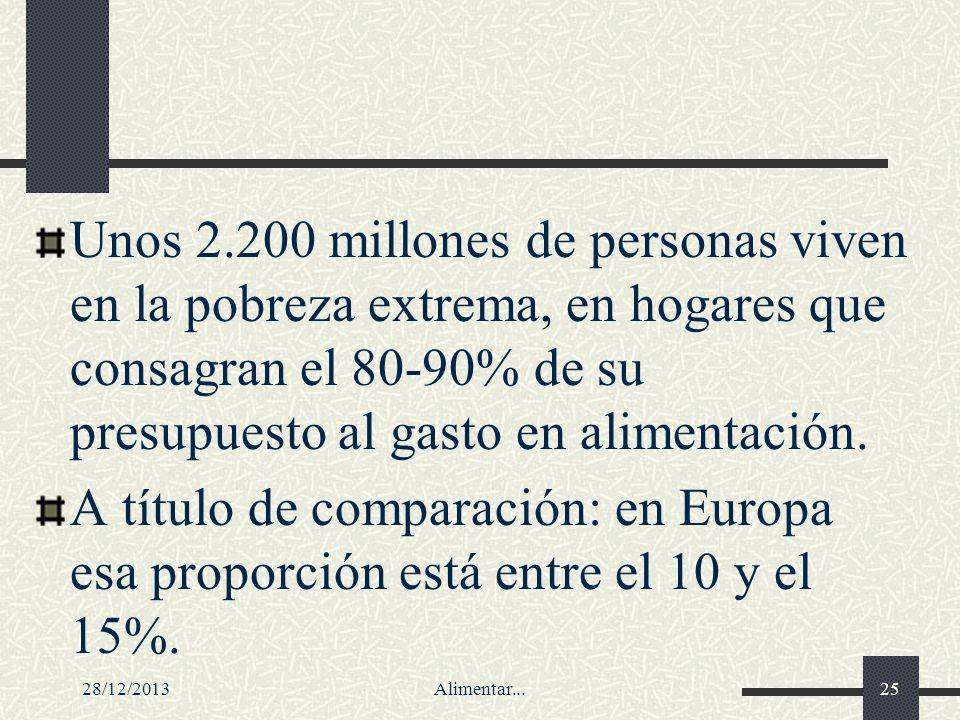 28/12/2013Alimentar...25 Unos 2.200 millones de personas viven en la pobreza extrema, en hogares que consagran el 80-90% de su presupuesto al gasto en