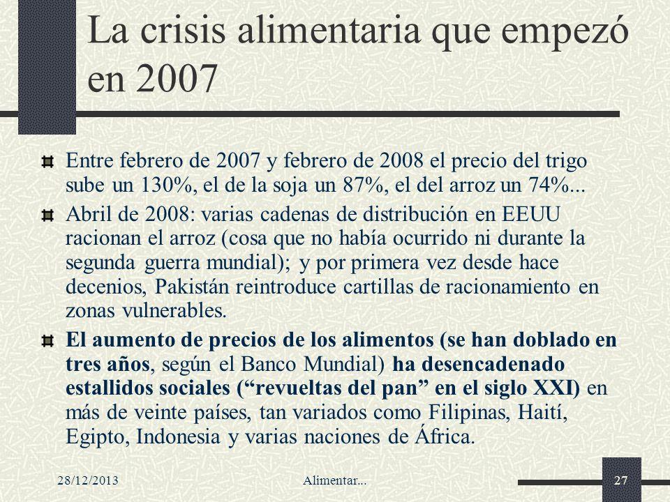 28/12/2013Alimentar...27 La crisis alimentaria que empezó en 2007 Entre febrero de 2007 y febrero de 2008 el precio del trigo sube un 130%, el de la s