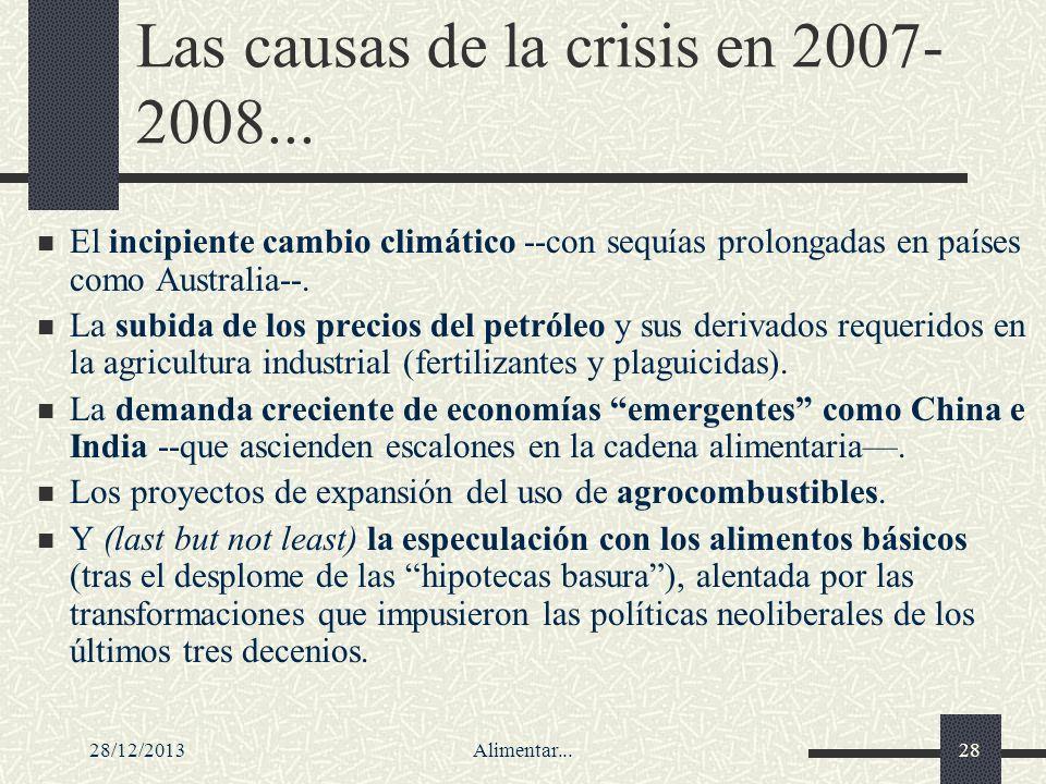 28/12/2013Alimentar...28 Las causas de la crisis en 2007- 2008... El incipiente cambio climático --con sequías prolongadas en países como Australia--.