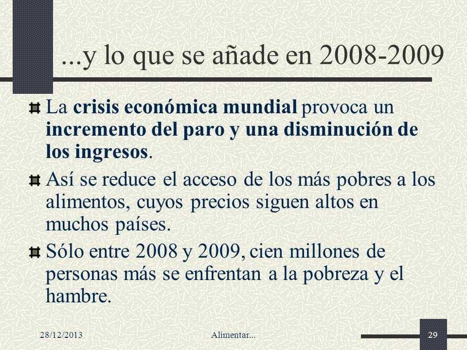 28/12/2013Alimentar...29...y lo que se añade en 2008-2009 La crisis económica mundial provoca un incremento del paro y una disminución de los ingresos