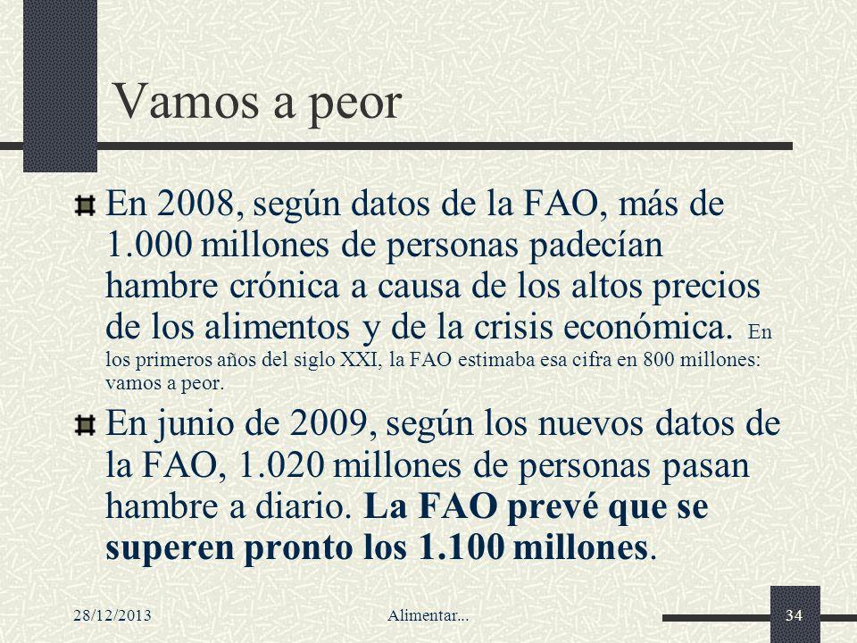 28/12/2013Alimentar...34 Vamos a peor En 2008, según datos de la FAO, más de 1.000 millones de personas padecían hambre crónica a causa de los altos p