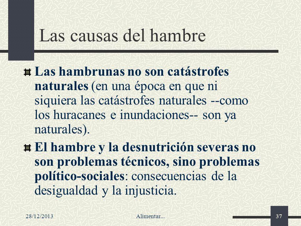 28/12/2013Alimentar...37 Las causas del hambre Las hambrunas no son catástrofes naturales (en una época en que ni siquiera las catástrofes naturales -