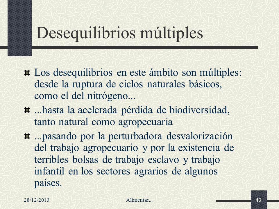 28/12/2013Alimentar...43 Desequilibrios múltiples Los desequilibrios en este ámbito son múltiples: desde la ruptura de ciclos naturales básicos, como