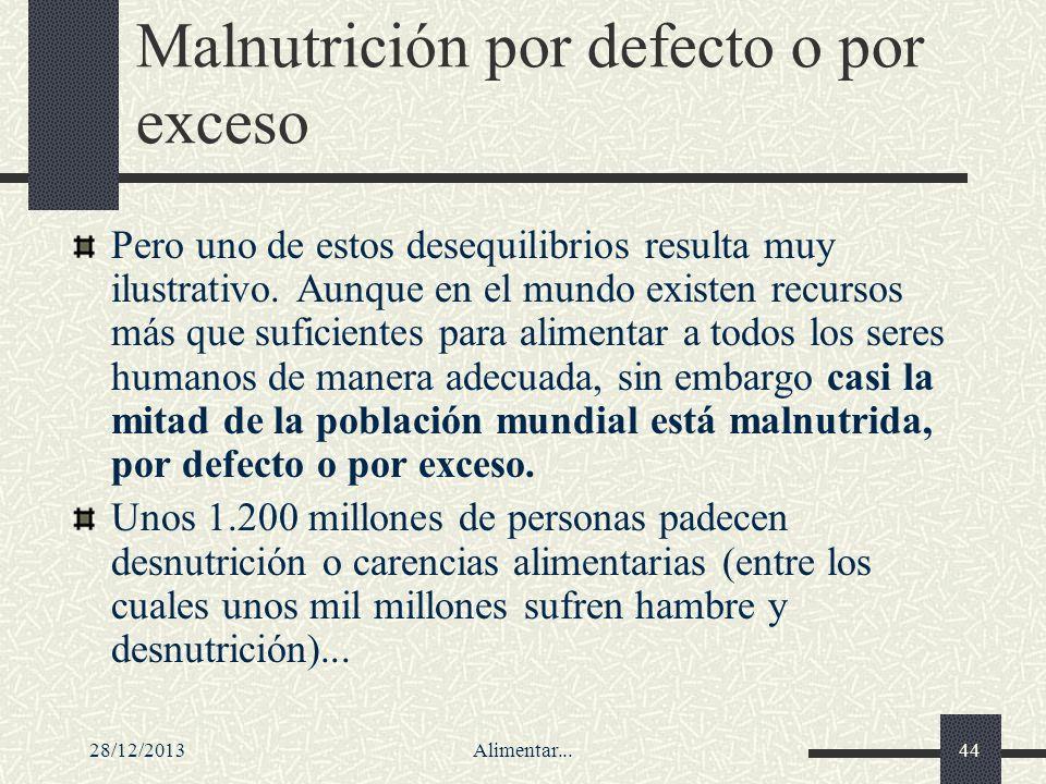 28/12/2013Alimentar...44 Malnutrición por defecto o por exceso Pero uno de estos desequilibrios resulta muy ilustrativo. Aunque en el mundo existen re