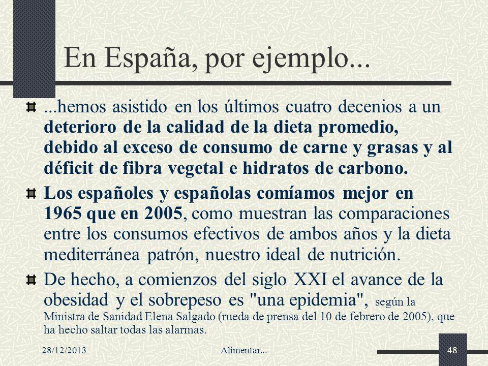 28/12/2013Alimentar...48 En España, por ejemplo......hemos asistido en los últimos cuatro decenios a un deterioro de la calidad de la dieta promedio,