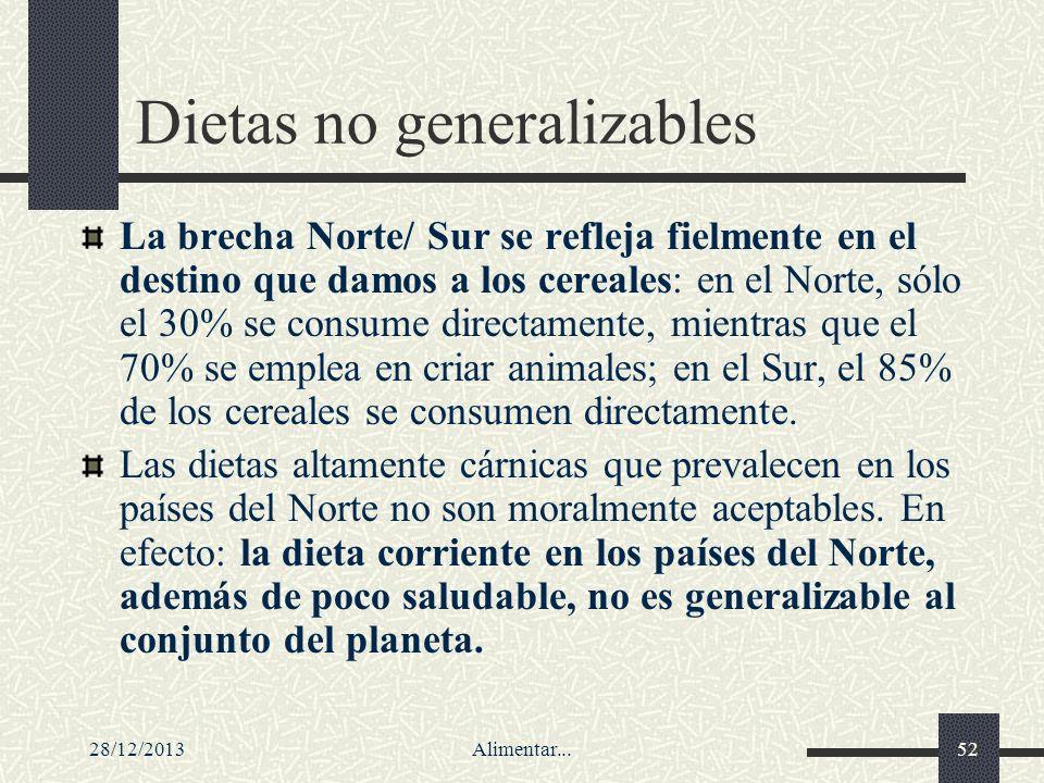 28/12/2013Alimentar...52 Dietas no generalizables La brecha Norte/ Sur se refleja fielmente en el destino que damos a los cereales: en el Norte, sólo