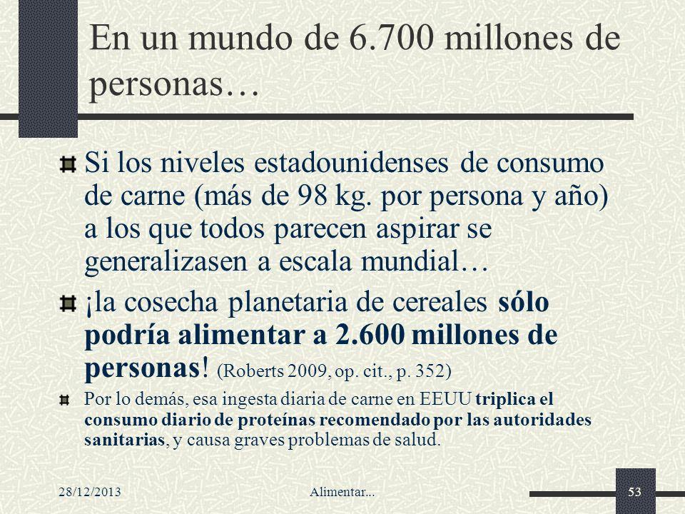 28/12/2013Alimentar...53 En un mundo de 6.700 millones de personas… Si los niveles estadounidenses de consumo de carne (más de 98 kg. por persona y añ