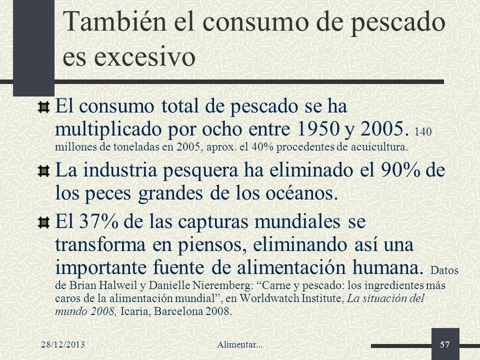 28/12/2013Alimentar...57 También el consumo de pescado es excesivo El consumo total de pescado se ha multiplicado por ocho entre 1950 y 2005. 140 mill