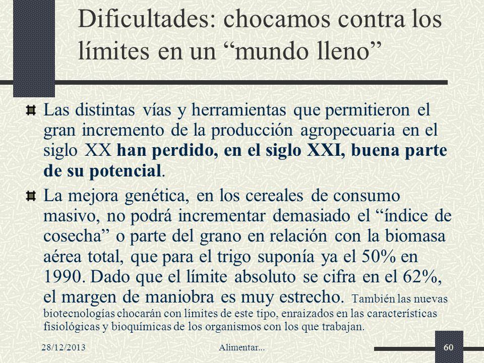28/12/2013Alimentar...60 Dificultades: chocamos contra los límites en un mundo lleno Las distintas vías y herramientas que permitieron el gran increme