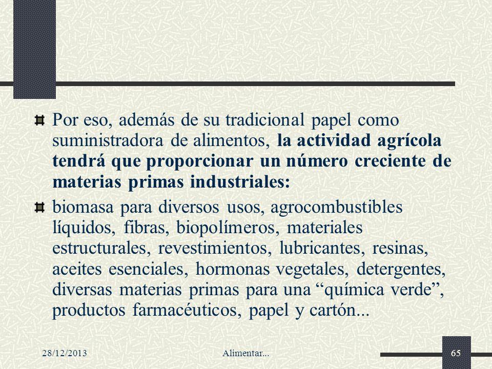 28/12/2013Alimentar...65 Por eso, además de su tradicional papel como suministradora de alimentos, la actividad agrícola tendrá que proporcionar un nú