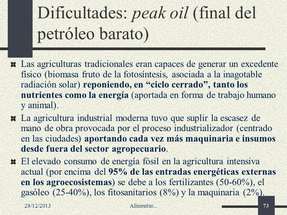 28/12/2013Alimentar...73 Dificultades: peak oil (final del petróleo barato) Las agriculturas tradicionales eran capaces de generar un excedente físico