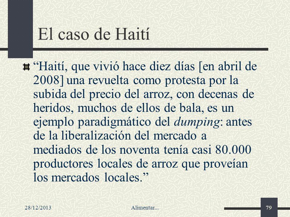 28/12/2013Alimentar...79 El caso de Haití Haití, que vivió hace diez días [en abril de 2008] una revuelta como protesta por la subida del precio del a