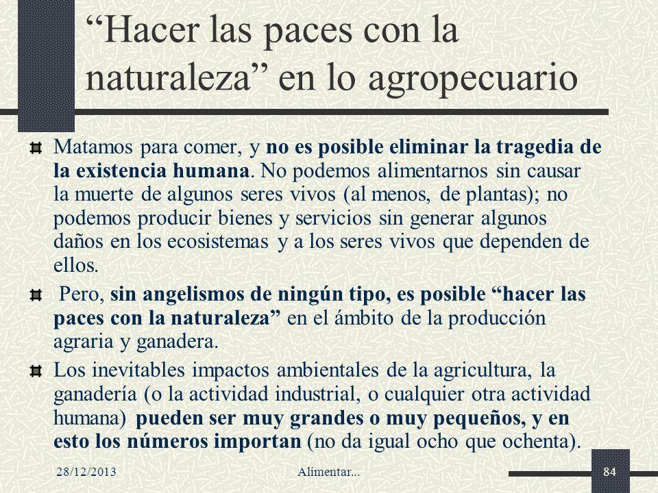 28/12/2013Alimentar...84 Hacer las paces con la naturaleza en lo agropecuario Matamos para comer, y no es posible eliminar la tragedia de la existenci