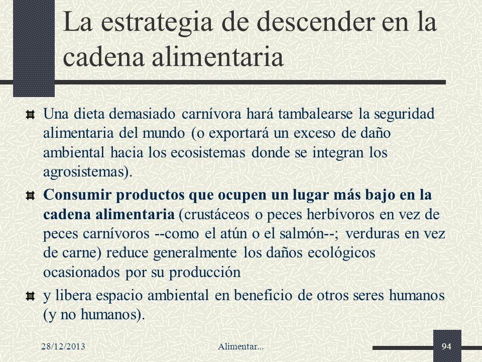 28/12/2013Alimentar...94 La estrategia de descender en la cadena alimentaria Una dieta demasiado carnívora hará tambalearse la seguridad alimentaria d
