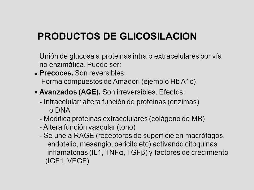 PRODUCTOS DE GLICOSILACION Unión de glucosa a proteinas intra o extracelulares por vía no enzimática. Puede ser: Precoces. Son reversibles. Forma comp