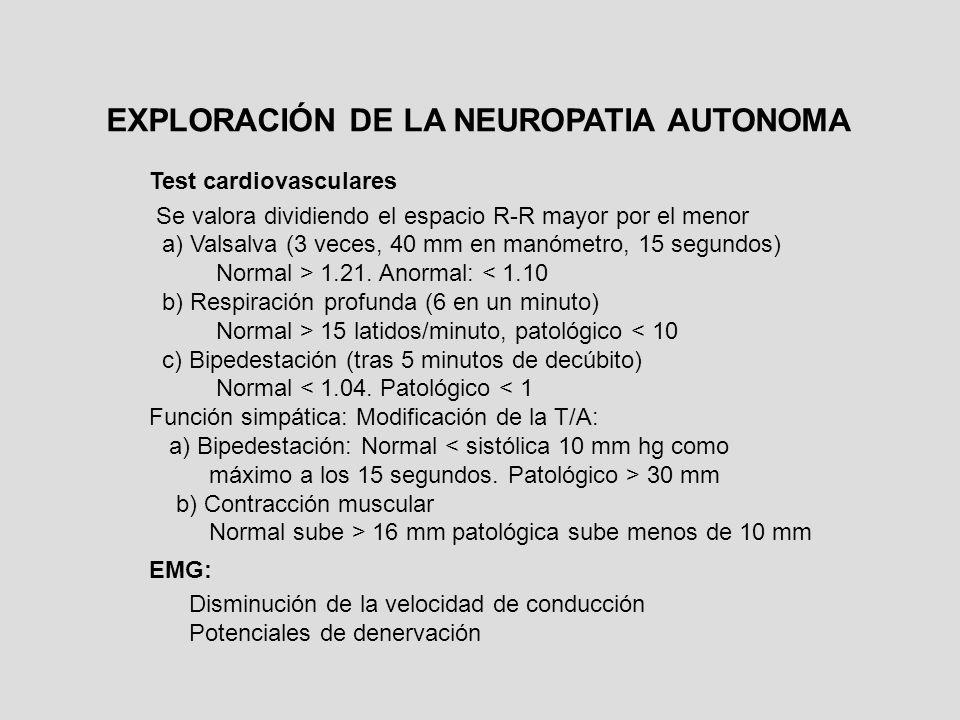Test cardiovasculares Se valora dividiendo el espacio R-R mayor por el menor a) Valsalva (3 veces, 40 mm en manómetro, 15 segundos) Normal > 1.21. Ano