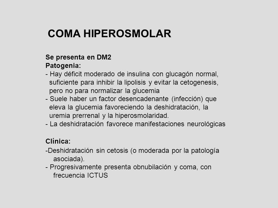ACIDOSIS LACTICA Peferentemente en la DM2 aunque no es un cuadro específico de ella Hay un aumento de la glicolisis anaerobia con hiperproducción de ácido láctico Favorecida por el déficit de insulina junto a una hipooxigenación (disminución de riego arterial) o toma de metformina (con complicaciones) Clínica: Cuadro estuporoso con acidosis importante de difícil control