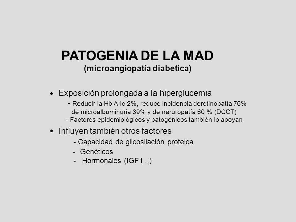 PATOGENIA DE LA MAD Vías a través de las cuales la hiperglucemia produce las complicaciones: a)Productos avanzados de glicosilación (AGE) b)Aumento del estrés oxidativo c)Vía de la proteinkinasa C d)Via aldosa reductasa