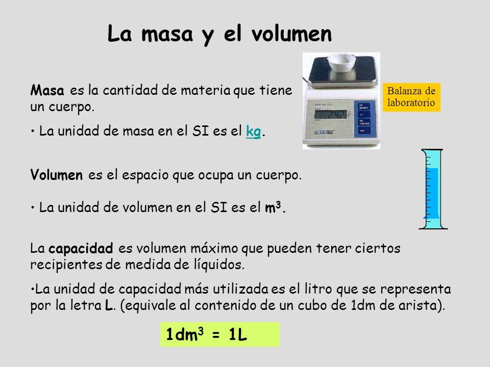 Masa es la cantidad de materia que tiene un cuerpo. La unidad de masa en el SI es el kg.kg La masa y el volumen Balanza de laboratorio Volumen es el e