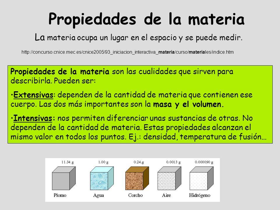 Propiedades de la materia La materia ocupa un lugar en el espacio y se puede medir. http://concurso.cnice.mec.es/cnice2005/93_iniciacion_interactiva_m