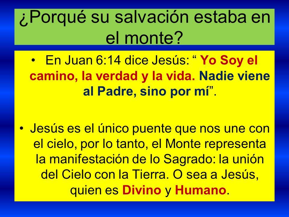 ¿Porqué su salvación estaba en el monte? En Juan 6:14 dice Jesús: Yo Soy el camino, la verdad y la vida. Nadie viene al Padre, sino por mí. Jesús es e