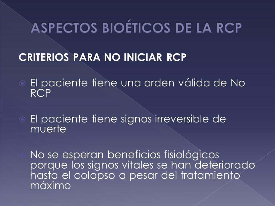 CRITERIOS PARA NO INICIAR RCP El paciente tiene una orden válida de No RCP El paciente tiene signos irreversible de muerte No se esperan beneficios fi