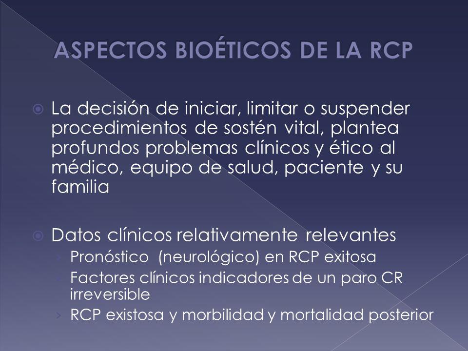 La decisión de iniciar, limitar o suspender procedimientos de sostén vital, plantea profundos problemas clínicos y ético al médico, equipo de salud, p