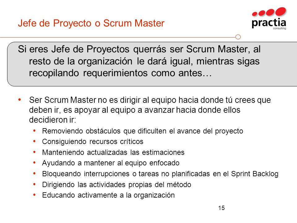 Jefe de Proyecto o Scrum Master Si eres Jefe de Proyectos querrás ser Scrum Master, al resto de la organización le dará igual, mientras sigas recopila
