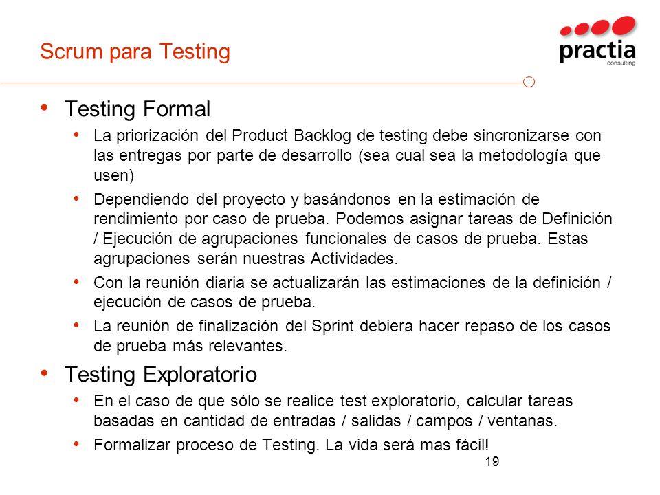 Scrum para Testing Testing Formal La priorización del Product Backlog de testing debe sincronizarse con las entregas por parte de desarrollo (sea cual