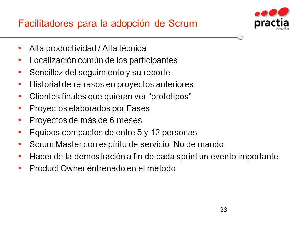 Facilitadores para la adopción de Scrum Alta productividad / Alta técnica Localización común de los participantes Sencillez del seguimiento y su repor