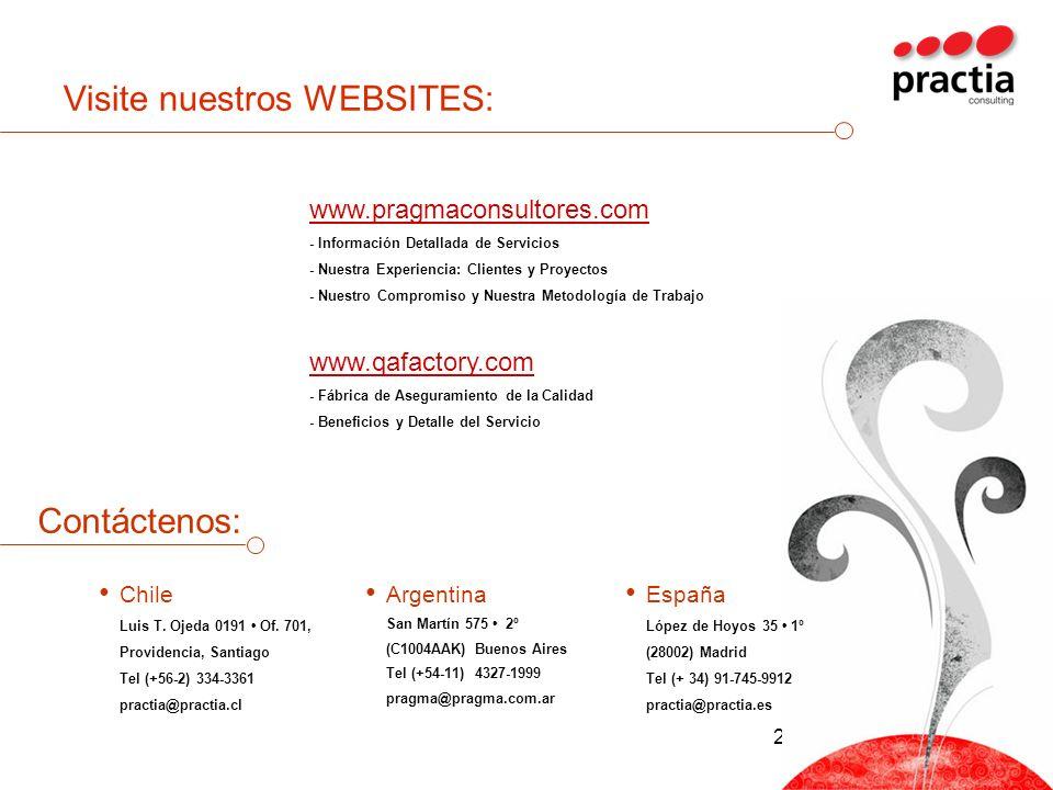 24 Visite nuestros WEBSITES: www.pragmaconsultores.com - Información Detallada de Servicios - Nuestra Experiencia: Clientes y Proyectos - Nuestro Comp